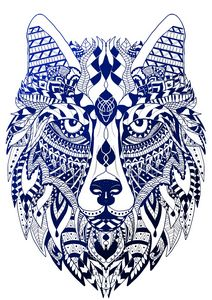 Blue wolf mandala
