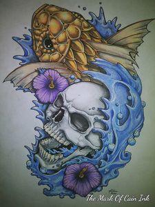 Skull and koi tattoo design