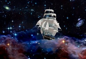 A sailing ship in space is floating