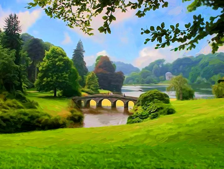Landscape with a bridge. A park. - Souvenir