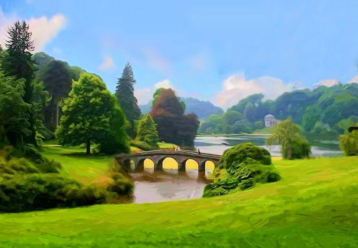 Landscape with a bridge. A park 2 - Souvenir