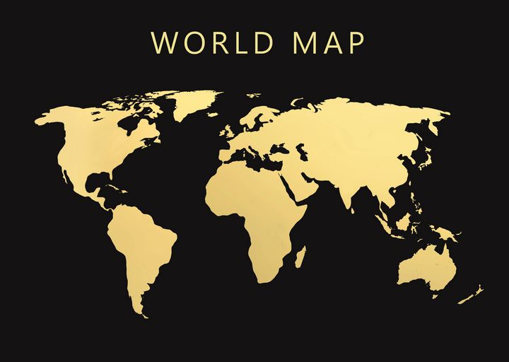 Gold world map 1 - Souvenir
