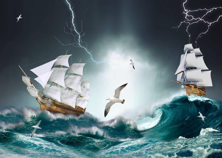 ocean sailboat waves storm sea - Souvenir