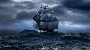 Difficult ocean sea sail boat