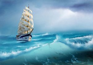Sailing ship at sea storm