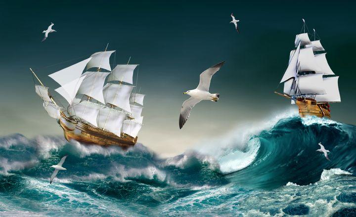 Sailboat sailing ship in ocean at se - Souvenir