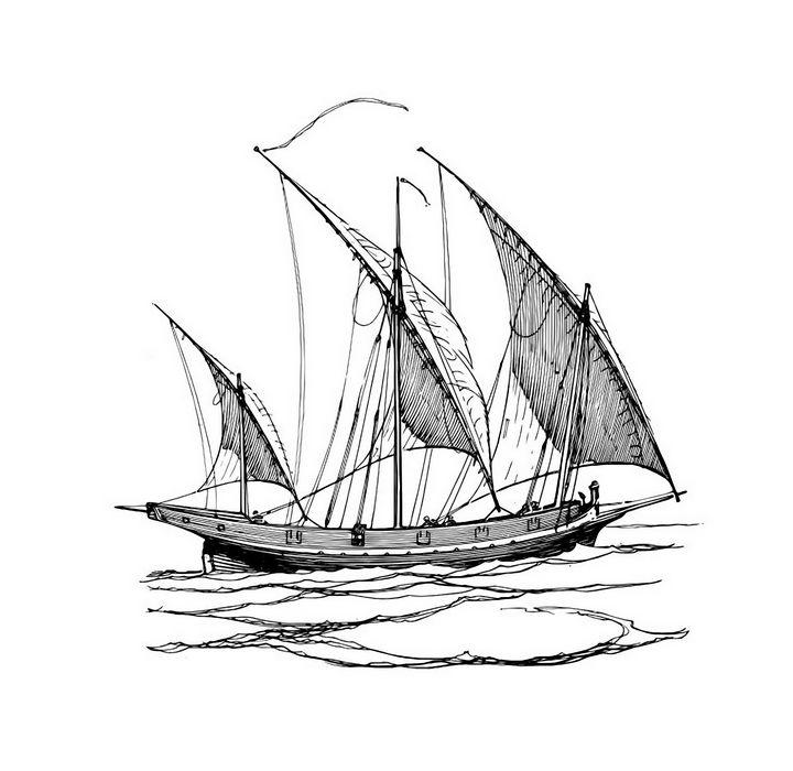 Sailing ship drawing graphics - Souvenir