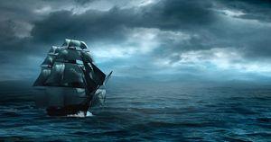 In ocean sea sail boat