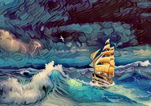 sailing ship at sea with ocean waves