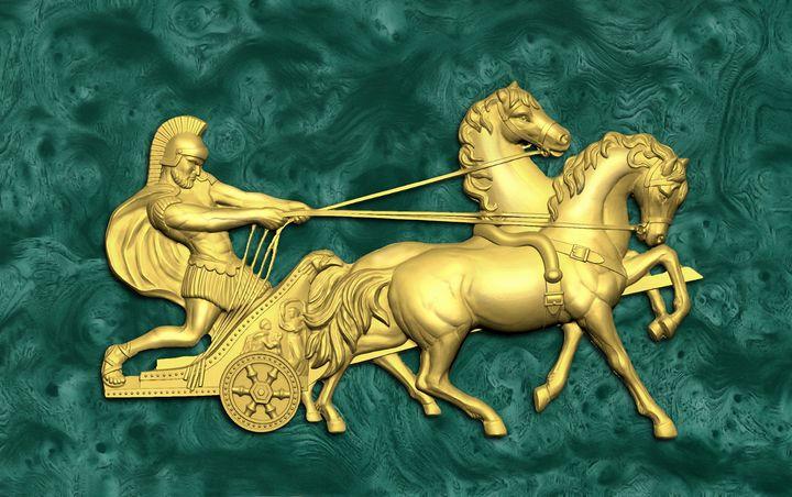 Roman legionary on a chariot. - Souvenir