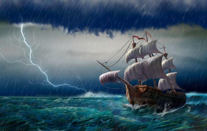 Dangerous journey. ocean sea sail - Souvenir