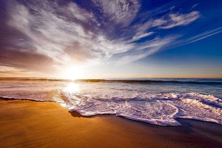 California Sunset on Beach - FriendlyChimpArt