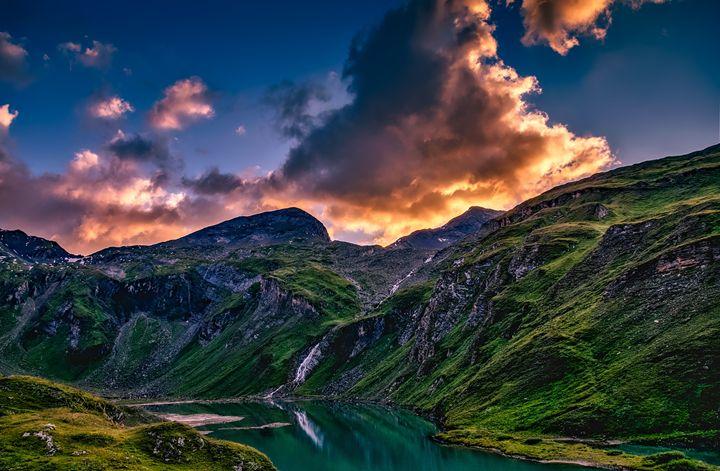 Austria Mountains - FriendlyChimpArt