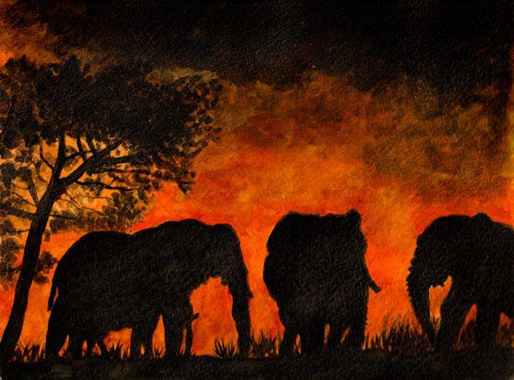 Elephants in the savanna at sunset - Melanie N Creations