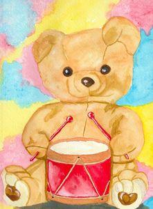 Drumming teddy bear