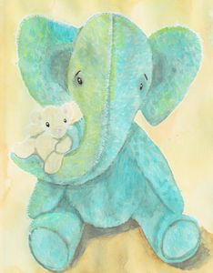 Cute elephant and mouse