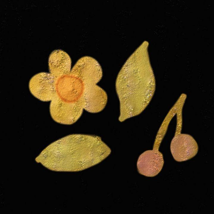 Golden cherries and flower - Melanie N Creations