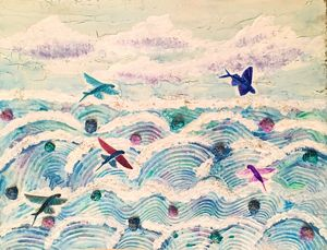 Flying fish in abstract sea