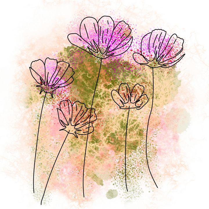 Cosmos flowers line art - Melanie N Creations