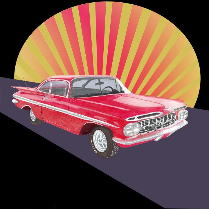 Vintage red car - Melanie N Creations