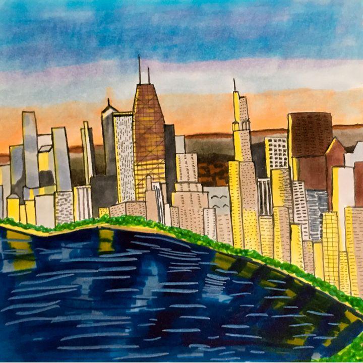 City reflection at sunrise - Melanie N Creations