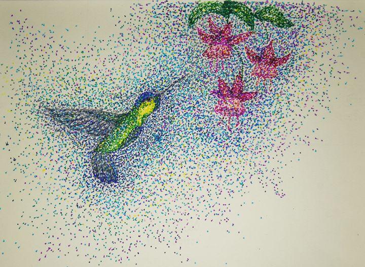 Hummingbird Spring - Sally Mouse Art