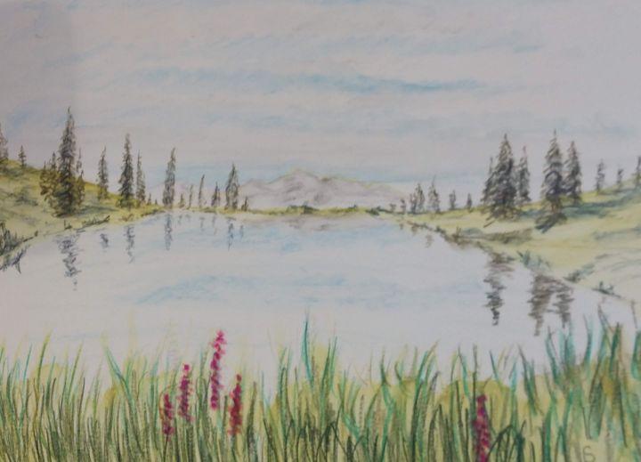 Serene Rocky Mountain Pond - Fallen Branch Designs