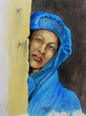 afghan woman and chadari - Muntazer Arts