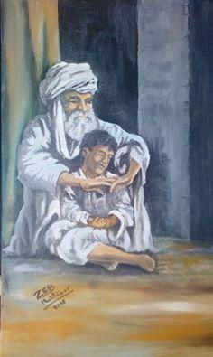 old Afghan man with his grandson - Muntazer Arts