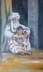 old Afghan man with his grandson