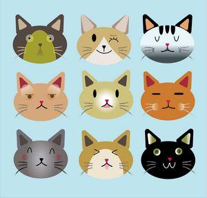 Cat face clipart set
