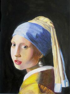Girl with pear earring colored penci