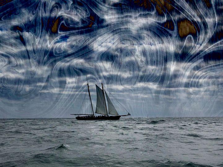 Sailboat Ocean Marbling Art Print - Lemuria Designs