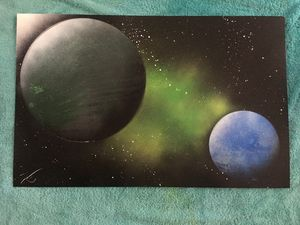 Planets in space - Spray Paint Art