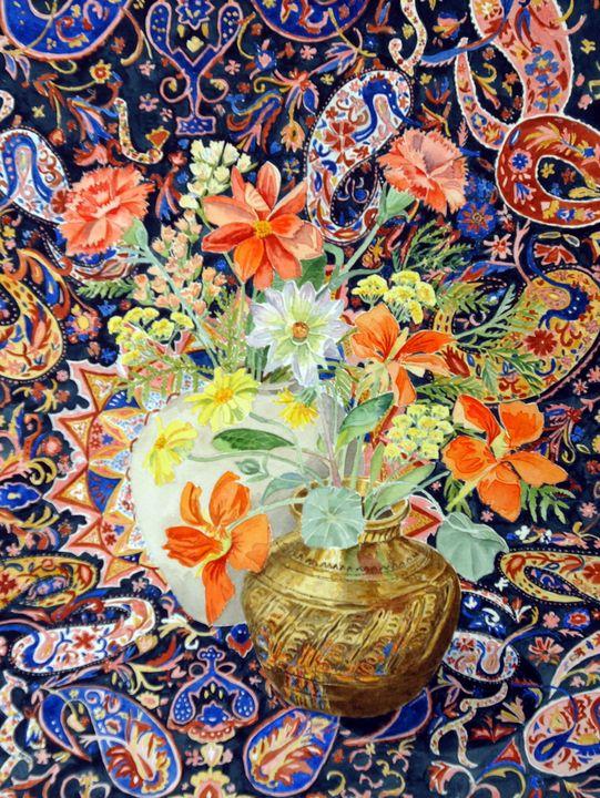 Brass bowl with nasturtiums - Sally Medcalf Art