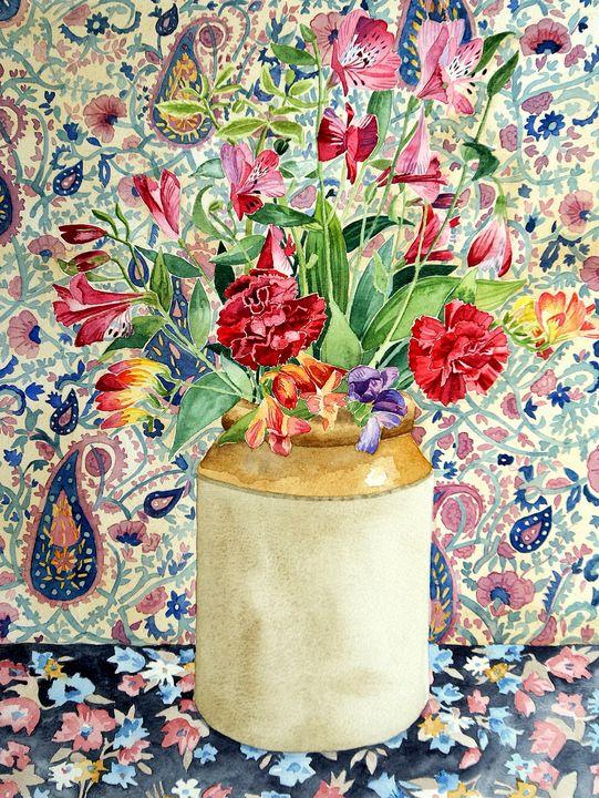 Peruvian lilies in a stoneware jar - Sally Medcalf Art