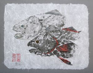 Red Fish Head Duo with Border