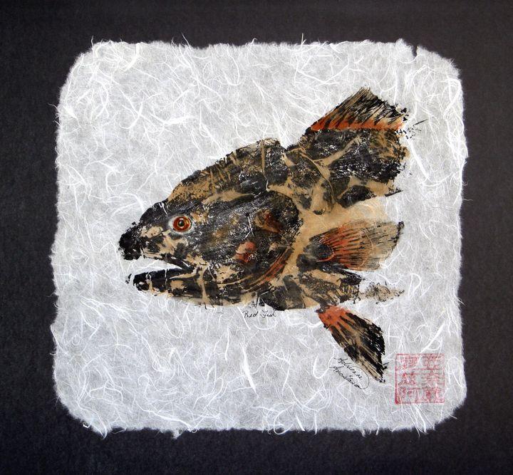 Redfish Head with torn Border - Adrienne Anastasia
