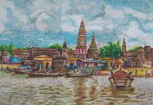 Pandharpur Water Colour painting - A K Creation