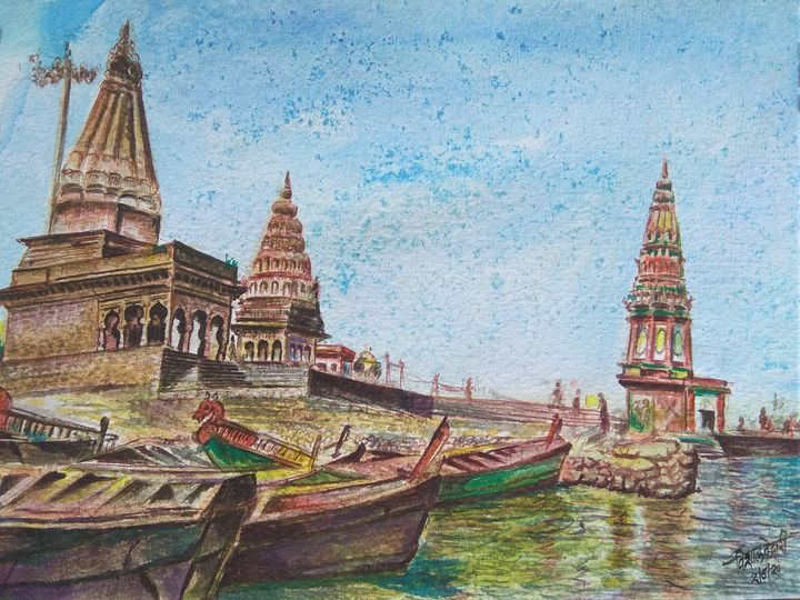 Pandharpur in watercolour painting - A K Creation