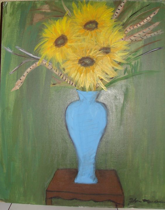 sunflower in blue vase - Creations by Flora
