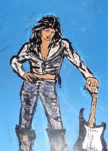 Joan Jett with black guitar