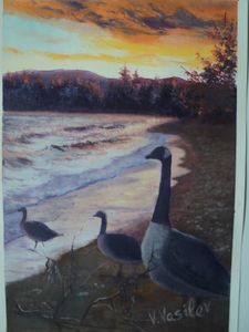 sunset in Tahoe oil painting