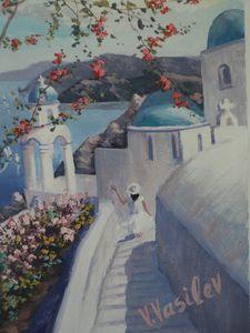 Santorini Greece impressionist art