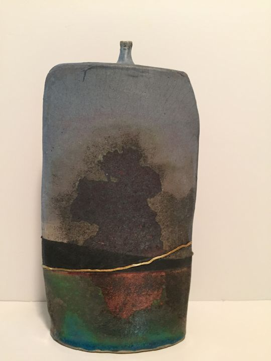 tall raku pot - Robert Baum