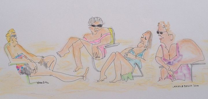 Ladies on Beach - deb yager art