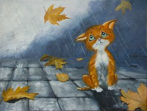 Kitten in the rain