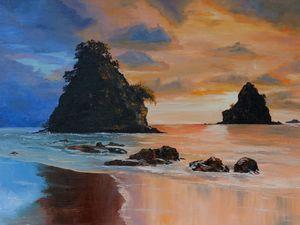 Sunset on warm sea