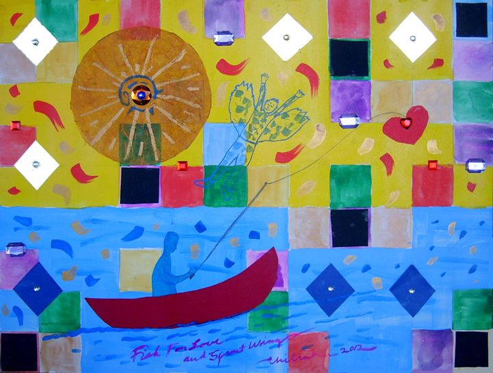 Fish For Love and Sprout Wings - Harry Chitrakar Kottler's Paintings