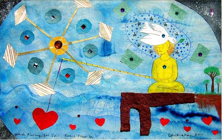 While Fishing for Love,Peace Flew In - Harry Chitrakar Kottler's Paintings